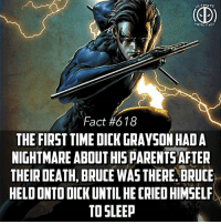 Batman, Family, and Memes: TIMA  HERO F  Fact #618  THE FIRST TIME DICK GRAYSON HAD A  NIGHTMARE ABOUT HISPARENTSAFIER  THEIR DEATH, BRUCE WAS THERE.BRUCE  HELD ONTO DICK UNTIL HE CRIED HIMSEL  TO SLEEP As the Bat, it's his job to lead his family and his city through the darkest nights! -- Favorite member of th Batfamily besides Batman himself? Comment below!