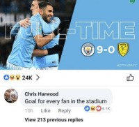 Soccer, Goal, and Time: TIME  9-0  #CITYVBAFC  08 24K >  Chris Harwood  Goal for every fan in the stadium  10h Like Reply 6.1k  View 213 previous replies Ice cold 😂 https://t.co/O1cKOxEU22