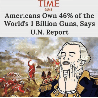 Guns, Memes, and Time: TIME  Americans Own 46% of the  World's 1 Billion Guns, Says  U.N. Report  GUNS  @rational.rebel (GC)