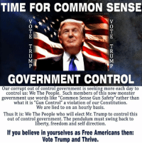 """Give great American page a look & a like to join us! https://www.facebook.com/lastamericapatriots/ #TrumpIsWinning: TIME FOR COMMON SENSE  O  GOVERNMENT CONTROL  Our corrupt out of control government is seeking more each day to  control us: We The People. Such members of this now monster  government use words like """"Common Sense Gun Safety""""rather than  what it is """"Gun Control"""" a violation of our Constitution.  We are lied to on an hourly basis.  Thus It is: We The People who will elect Mr. Trump to control this  out of control government. The pendulum must swing back to  liberty, freedom and self direction.  If you believe in yourselves as Free Americans then:  Vote Trump and Thrive. Give great American page a look & a like to join us! https://www.facebook.com/lastamericapatriots/ #TrumpIsWinning"""