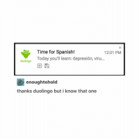 tHIS IS ME TODAY IN SPANISH ≪sam≫: Time for Spanish!  12:01 PM  Today you'll learn: depresion, viru...  duolingo  enough tohold  thanks duolingo but i know that one tHIS IS ME TODAY IN SPANISH ≪sam≫