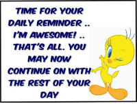 Crazy: TIME FOR YOUR  DAILY REMINDER.  I'M AWESOME!  THAT'S ALL. YOU  MAY NOW  CONTINUE ON WITH  THE REST OF YOUR  DAY Crazy