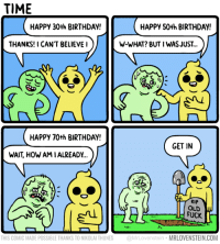 Time keeps on slippin...  Secret Panel HERE ⌛ mrlovenstein.com/comic/912: TIME  HAPPY 30th BIRTHDAY!  HAPPY 50th BIRTHDAY!  THANKS!I CAN'T BELIEVEI  W-WHAT? BUT I WAS JUST..  HAPPY 70th BIRTHDAY!  GET IN  WAIT, HOW AM IALREADY...  RIP  OLD  THIS COMIC MADE POSSIBLE THANKS TO NIKOLAI THUNES @MrLovenstein MRLOVENSTEIN.COM Time keeps on slippin...  Secret Panel HERE ⌛ mrlovenstein.com/comic/912