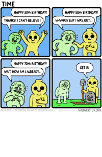 50th birthday: TIME  HAPPY 30th BIRTHDAY!  HAPPY 50th BIRTHDAY!  THANKS!I CAN'T BELIEVEI  W-WHAT? BUT I WASJUST...  HAPPY 70th BIRTHDAY  GET IN  WAIT, HOW AMIALREADY..  RIP  OLD  FUCK  THIS COMIC MADE POSSIBLE THANKS TO NIKOLAI THUNES @MrLovenstein MRLOVENSTEIN.COM