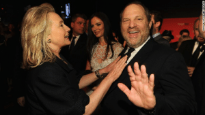 Hillary Clinton and sexual predator Harvey Weinstein joke at a cocktail party.: TIME ROO  LARRY DUSACOAYGETTY IMAGES Hillary Clinton and sexual predator Harvey Weinstein joke at a cocktail party.