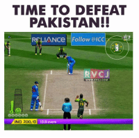 Bailey Jay, Memes, and Pakistan: TIME TO DEFEAT  PAKISTAN!!  RELIANCe Follow @ICC  RV CJ  WWW. RVCJ.COM  7G  IND 200/o  10.0 overs Time to defeat them!