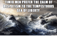 Thanks to the Libertarian Party of Illinois for this post! To get involved locally, go to lp.org/states!: TIMID MEN PREFER THE CALM OF  DESPOTISM TO THE TEMPESTUOUS  SEA OF LIBERTY  Libertarian Party  Jefferson  of Illinois  made on imgur Thanks to the Libertarian Party of Illinois for this post! To get involved locally, go to lp.org/states!