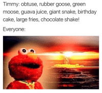 You can not tell me Timmy Turner was not the most 🔥 lyricist of all time (@die): Timmy: obtuse, rubber goose, green  moose, guava juice, giant snake, birthday  cake, large fries, chocolate shake!  Everyone You can not tell me Timmy Turner was not the most 🔥 lyricist of all time (@die)