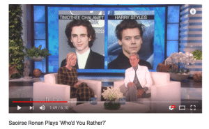 Friends, Fucking, and Lesbians: TIMOTHEE CHALAMET  HARRY STYLES  eless  HD  1  )  1 :49 / 6:10  Saoirse Ronan Plays 'Whod You Rather? notkatniss:  kimbras: contender for one of the absolute gayest images i've ever fucking seen this liteallylooks like two lesbians trying to set up their gay friends