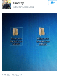 """Memes, Tumblr, and Blog: Timothy  @RumNCocaCola  Trump won  the elections  MEMES !  Hillary won  the elèctions  MEMES  :05 PM 03 Nov 16 <p><a class=""""tumblr_blog"""" href=""""http://moontouched-moogle.tumblr.com/post/152880402382"""">moontouched-moogle</a>:</p> <blockquote> <p><figure class=""""tmblr-full"""" data-orig-height=""""606"""" data-orig-width=""""800""""><img src=""""https://78.media.tumblr.com/5ad85296c777db3c3ce5ea336d86986e/tumblr_inline_ogawu23CQn1speybs_540.jpg"""" data-orig-height=""""606"""" data-orig-width=""""800""""/></figure></p> <h2> <b>ALWAYS PREPARE FOR THE UNEXPECTED</b><br/></h2> </blockquote>"""