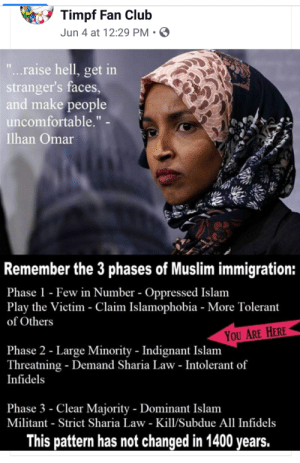 """Af, Club, and Muslim: Timpf Fan Club  Jun 4 at 12:29 PM  """"...raise hell, get in  stranger's faces,  and make people  uncomfortable."""" -  Ilhan Omar  Remember the 3 phases of Muslim immigration:  Phase 1- Few in Number - Oppressed Islam  Play the Victim - Claim Islamophobia - More Tolerant  of Others  YOU ARE HERE  Phase 2 - Large Minority Indignant Islam  Threatning - Demand Sharia Law - Intolerant of  Infidels  Phase 3 - Clear Majority - Dominant Islam  Militant Strict Sharia Law - Kill/Subdue All Infidels  This pattern has not changed in 1400 years. Racist af."""