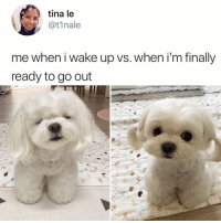 Heart, Relatable, and Wake: tina le  @t1nale  me when i wake up vs. when i'm finally  ready to go out aaaAaaAHHHHhhhHhHHHhHhHHH my heart 😍