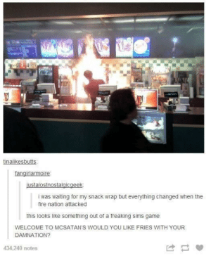 Goddammit Satanomg-humor.tumblr.com: tinalikesbutts:  fangirlarmoire  justalostnostalgicgeek:  i was waiting for my snack wrap but everything changed when the  fire nation attacked  this looks like something out of a freaking sims game  WELCOME TO MCSATAN'S WOULD YOU LIKE FRIES WITH YOUR  DAMNATION?  434,240 notes Goddammit Satanomg-humor.tumblr.com