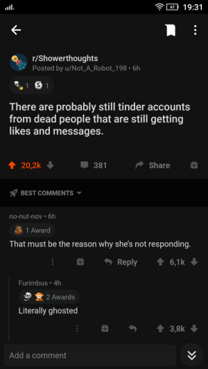 Tinder related shower thought. Shoutout to u/Not_A_Robot!: Tinder related shower thought. Shoutout to u/Not_A_Robot!