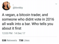 Vegan, Bitcoin, and Who: @tinnkky  A vegan, a bitcoin trader, and  someone who didnt vote in 2016  all walk into a bar. Who tells you  about it first  12:03 PM 14 Dec 17  538 Retweets 738 Likes Which one? 🤔😂 https://t.co/DyBdVR2Whw