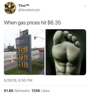 Time to start training your feet by Cigs_in_side FOLLOW HERE 4 MORE MEMES.: TinoTM  @tinodotcom  When gas prices hit $6.35  Ges Prices with  Parchase of  Cor Wosh  Self Serve  Gasoline  635/0  9739/10  9839/0  5/29/18, 6:50 PM  61.6K Retweets 135K Likes  > Time to start training your feet by Cigs_in_side FOLLOW HERE 4 MORE MEMES.