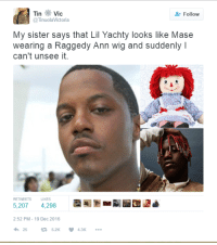 <p>&ldquo;The rap game got more toys than Kris Kringle&rdquo; (via /r/BlackPeopleTwitter)</p>: TinVic  @TinuolaVictoria  Follow  My sister says that Lil Yachty looks like Mase  wearing a Raggedy Ann wig and suddenly I  can't unsee it  RETWEETS  LIKES  t. 데  ,'  5,2074,298  2:52 PM -19 Dec 2016  25  5.2K  4.3K <p>&ldquo;The rap game got more toys than Kris Kringle&rdquo; (via /r/BlackPeopleTwitter)</p>