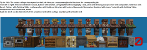 Butcher, Job, and Table: Tip for Felix: The trades a villager has depend on their job. Here you can see every job site block and the corresponding job  From left to right: Armorer with Blast Furnace, Butcher with Smoker, Cartographer with Cartography Table, Cleric with Brewing Stand, Farmer with Composter, Fisherman with  Barrel, Fletcher with Fletching Table, Leatherworker with Cauldron, Librarian with Lectern, Mason with Stonecutter, Shepherd with Loom, Toolsmith with Smithing Table,  Weaponsmith with Grindstone, Nitwit  A job site block can be claimed only if it is unclaimed and within a village boundary with at least 1 bed. You should also build a wall around your village to protect the villagers from mobs