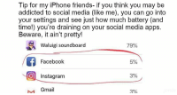 "Facebook, Friends, and Instagram: Tip for my iPhone friends- if you think you may be  addicted to social media (like me), you can go into  your settings and see just how much battery (and  time!) you're draining on your social media apps  Beware, it ain't pretty!  Waluigi soundboard  79%  Facebook  5%  O Instagram  3%  Gmail  3% <p>The apps can be switched out, so very versatile. Buybuy buy via /r/MemeEconomy <a href=""https://ift.tt/2m2Jktm"">https://ift.tt/2m2Jktm</a></p>"