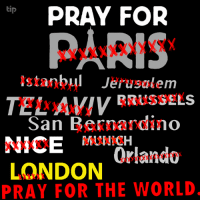 Memes, 🤖, and San Bernardino: tip  PRAY FOR  PARIS  Istanbul Jerusalem  TEL AVIV BRUSSELS  San Bernardino  NICE  Orlando  LONDON  PRAY FOR THE WORLD