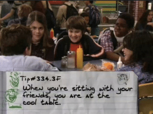 One friend counts: Tip334.3F  when you're sitting with  friewds, you Are At the  cool table.  your One friend counts