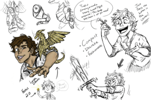 laryndawn:  Leo Valdez, Inventor Extraordinaire! I imagined what would happen if Leo made a tiny, Festus swiss-knife-fire-breathing-campanion; one that was easy to take with you on missions and could be even smaller than the one drawn! Also, recon weapons that you can take on the go! He'd probably have trouble finding material light and flexible enough, but he's not one to give up! (He'd totally make Jason a Captain America shield keychain by the way) : Tired of  Carrling around a  heavy Sword ?Not  anymore ! This handy  Key chain is all you need!  Just  Press the  · Compact  button in  the  Center!  Discrete  Laryn  Festus  Daun  fashionable  2.0  WP!  Travel  Sized! laryndawn:  Leo Valdez, Inventor Extraordinaire! I imagined what would happen if Leo made a tiny, Festus swiss-knife-fire-breathing-campanion; one that was easy to take with you on missions and could be even smaller than the one drawn! Also, recon weapons that you can take on the go! He'd probably have trouble finding material light and flexible enough, but he's not one to give up! (He'd totally make Jason a Captain America shield keychain by the way)
