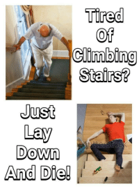 Climbing, Down, and Tired: Tired  Of  climbing  Stairs?  Just  Lay  Down  And Die!