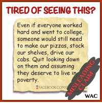 "College, Driving, and Pizza: TIRED OF SEEING THIS?  Even if everyone worked  hard and went to college,  someone would still need  to make our pizzas, stock  our shelves, drive our  cabs. Quit looking down  on them and assuming  they deserve to l  poverty  ive i  XFACEBOOK.COM/  WAC <p><a class=""tumblr_blog"" href=""http://gop-tea-pub.tumblr.com/post/147822139572"">gop-tea-pub</a>:</p> <blockquote> <p> The  Misleading Claim: ""Even if everyone worked hard and went to college,  someone would still need to make our pizza, stock our shelves, and drive  our cabs. Quit looking down on them and assuming they deserve to live  in poverty.""<br/><br/> The Rebuttal:<br/> The fatal error in the above  claim is the presumption that demand for a specific job is static and  will always exist; that there will always be someone making  our pizzas, stocking our shelves, and driving us around in taxis. While  this may have SOME truth to it, in that a declining occupation might  not entirely disappear, it fails to acknowledge that such a decline in  demand is precisely what necessitates the low wage in the first place.  Understand, advocates of freer markets generally don't assert that hard  working individuals ""deserve to live in poverty."" What we contend is  that people earning low wages are typically offering labor that is  either ""low in demand"" or ""'high in supply."" The valuation  characteristics of this labor, then, mirror that of a product few people  wish to buy or too many people wish to sell.  <br/><br/> It just so happens that pizza-making, shelf-stocking, and cab-driving jobs are declining in demand.<br/><br/> ■ PIZZA-MAKERS:<br/>  Pizza has gotten cheaper to produce. Per Franchise Direct, citing a  pizza franchise industry report from 2010, ""The development and  implementation of new technology and marketing strategies has enabled  the pizza industry to adapt to growing consumer demands for cheap, fast,  and convenient products."" [1]  Part of this increased productivity  means fewer ""pizza makers"" are required, as the art of pizza making has  increasingly become commercialized into an efficient process which  utilizes less labor. The major chains are known for utilizing ""assembly  line"" techniques, relying more on pre-made or partially prepared  products, shipped to individual shops, and thus requiring less labor to  render a finished product. According to Pizza Marketing Quarterly, who  issues an Annual Industry Analysis, in 2003, independently owned pizza  shops represented 50.7% of sales for the pizza industry, while major  corporate chains made up the remainder. [2] Ten years later, however,  that number had fallen to 40.33% of sales, with major chains increasing  their share to nearly 60%. [3] The point is clear; the increased share  of major pizza chains equals a downward trend in the necessity of  qualified pizza makers.<br/><br/> ■ STOCKING CLERKS:<br/> Per the Bureau  of Labor Statistics' Occupational Outlook Handbook and Career Guide to  Industries, ""Stocking Clerks"" are on a list of the 30 fastest declining  occupations, expected to decline by 7.7% over a decade. [4]<br/><br/> Other notable yet disappearing occupations from this list? [5]<br/><br/> ● Woodworkers - 40% decline<br/> ● Photo Process Workers -36.3%<br/> ● Textile Operators - 24-31%<br/> ● Clerks - 27.8%<br/> ● Computer Operators - 24.7%<br/> ● Bookbinders - 21.8%<br/> ● Radio Operators - 16.3%<br/> ● Gas Pump Operators - 17.5%<br/> ● Pharmacy Aides - 11.1%<br/> ● Shoe Workers - 10.3%<br/> ● Utility Meter Readers - 10.3%<br/> ● Printer Technicians - up to21.2%<br/> ● Projectionists – 8.4%<br/> ● Farmers – estimated 8.5% from 2006 to 2016<br/> *Matter of fact, from 1790 – 1990 the share of the labor force involved in farming declined from 90% to 2.6%. [6]<br/><br/>  The point? Specific types of jobs aren't always here to stay. Markets  shift, demand changes, and the need for some jobs decline.<br/><br/> ■ TAXI DRIVERS:<br/>  As with the above occupations, taxi drivers ALSO aren't impervious to  changing markets. Many are now deeply threatened by the quickly  expanding ""ride-sharing"" alternatives, such as Uber. ""Donna Blythe-Shaw,  a representative for the United Steelworkers and the Boston Taxi  Drivers Association, said cabbies, concerned they could be driven out of  business by unregulated ride-sharing companies, have waited long enough  for reform. She said business is down 35 to 40 percent as a result of  companies such as Uber, Lyft, and SideCar."" [7] With such rapid declines  in demand for taxis, would it really be surprising to find out their  take-home pay has also declined?<br/><br/> CONCLUSION:<br/> Yes, in a  hypothetical world, if EVERYONE went to college and developed additional  skills, some of those college educated people WOULD still end up making  pizzas, stocking shelves, and driving cabs, but it would - as always -  be the least skilled among us who performed such tasks. And it just so  happens that ""pizza-maker,"" ""stocking clerk,"" and ""taxi driver,"" are  occupations with declining demand. Thus, their lower pay IS justified.  Again, those choosing to offer labor which is either low in demand or  high in supply position themselves to be on the lower end of the  compensation spectrum. It's THEIR choice not to change careers.  You  can't blame anyone else.<br/> —————————–<br/> Citations:<br/> [1]<br/><a href=""http://www.franchisedirect.com/foodfranchises/pizzafranchises/pizzafranchiseindustryreport2010/80/275"">http://www.franchisedirect.com/foodfranchises/pizzafranchises/pizzafranchiseindustryreport2010/80/275</a><br/><br/> [2]<br/><a href=""http://www.pmq.com/September-October-2004/Pizza-Power/"">http://www.pmq.com/September-October-2004/Pizza-Power/</a><br/><br/> [3]<br/><a href=""http://www.pmq.com/December-2013/Pizza-Power-The-2014-Pizza-Power-Report/"">http://www.pmq.com/December-2013/Pizza-Power-The-2014-Pizza-Power-Report/</a><br/><br/> [4] [5]<br/><a href=""http://www.boston.com/jobs/2013/12/30/the-fastest-declining-occupations/PRZVnJg25iIBgJFyv70BxN/story.html#slide-2"">http://www.boston.com/jobs/2013/12/30/the-fastest-declining-occupations/PRZVnJg25iIBgJFyv70BxN/story.html#slide-2</a><br/><br/> [6]<br/><a href=""https://www.agclassroom.org/gan/timeline/farmers_land.htm"">https://www.agclassroom.org/gan/timeline/farmers_land.htm</a><br/><br/> [7]<br/><a href=""http://www.bostonglobe.com/metro/2014/05/22/taxi-drivers-protest-uber-boston-offices/0YlRN0hHAHVhcxFIQ2X5aI/story.html"">http://www.bostonglobe.com/metro/2014/05/22/taxi-drivers-protest-uber-boston-offices/0YlRN0hHAHVhcxFIQ2X5aI/story.html</a>  <br/></p> </blockquote>"