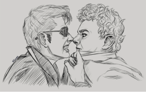 "Click, Target, and Tumblr: TIRLACHIEL firlachieldraws:  Good Omens: ""I'm a demon, I'm not nice!"" (Screenshot redraw)Click for bigger version."