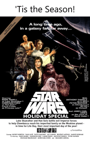 Heard y'all love to hate Star Wars. BTW, your body won't be ready for this!: 'Tis the Season!  A long tinme ago,  in a galaxy far far away...  STAR  WARS  Starring  MARK HAMILL  as Luke Skywalker TM  HARRISON FORD  as Han SoloTM  Carrie Fisher  as Princess LeiaTM  With  ANTHONY DANIELS  as C-3PO TM  PETER MAYHEW  as Chewbacca TM  R2-D2 TM  as Himself  And JAMES EARL  JONES  as the voice of  Darth Vader TM  HOLIDAY SPECIAL  Luke Skywalker and Han Solo battle evil Imperial forces  to help Chewbacca reach his imperiled family on the Wookiee planet-  in time for Life Day, their most important day of the year!  u/TentakilRex  Starrıng MICKEY MORTON PAUL GATE PATTY MALONEY ART CARNEY BEATRICE ARTHUR HARVEY KORMAN  Co-Starrıng MARK HAMILL HARRISON FORD CARRIE FISHER ANTHONY DANIELS PETER MAYHEW  REGINALD DILLINGHAM JAMES EARL JONES and DIAHANN CARROLL  THE CLASSIC  TELEVISION SPECIAL  All Rights Reserved Heard y'all love to hate Star Wars. BTW, your body won't be ready for this!