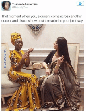 Memes, Queen, and Best: Tissonade Lemontiss  @NaturallyTiss  That moment when you, a queen, come across another  queen, and discuss how best to maximise your joint slay 38 Hilarious Memes That'll Make You Lose It - SliControl.Com