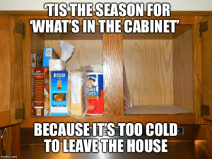 House, Cold, and Com: TISTHE SEASON FOR  WHAT'S IN THE CABINET  ATS  BECAUSEIT'S TOO COLD  TOLEAVETHE HOUSE  imgflip.com Crackers for dinner?