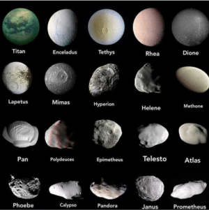 space-pics:  The different appearances of some of the moons of Saturn. Saturn has over 60 moons, and possibly more not discovered yet: Titan  Tethys  Enceladus  Dione  Rhea  Lapetus  Mimas  Нyperion  Methone  Helene  Telesto  Pan  Polydeuces  Atlas  Epimetheus  Phoebe  Calypso  Pandora  Prometheus  Janus space-pics:  The different appearances of some of the moons of Saturn. Saturn has over 60 moons, and possibly more not discovered yet