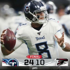 FINAL: The @Titans get the W in Atlanta!  #TENvsATL https://t.co/50vtemEYiP: TITANS  FINAL  24 10  T FINAL: The @Titans get the W in Atlanta!  #TENvsATL https://t.co/50vtemEYiP