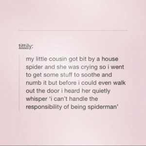 We all have our own responsibilities, some more than othersomg-humor.tumblr.com: tittily:  my little cousin got bit by a house  spider and she was crying so i went  to get some stuff to soothe and  numb it but before i could even walk  out the door i heard her quietly  whisper 'i can't handle the  responsibility of being spiderman' We all have our own responsibilities, some more than othersomg-humor.tumblr.com