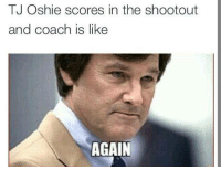 Hockey, Usa, and Coach: TJ Oshie scores in the shootout  and coach is like  AGAIN USA goes on to win 3-2 in the shootout courtesy of T.J Oshie! -Marc