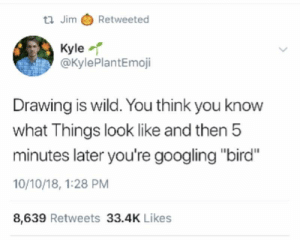 "Wild, Think, and You: tl Jim Retweeted  Kyle  @KylePlantEmoji  Drawing is wild. You think you know  what Things look like and then 5  minutes later you're googling ""bird""  10/10/18, 1:28 PM  8,639 Retweets 33.4K Likes"