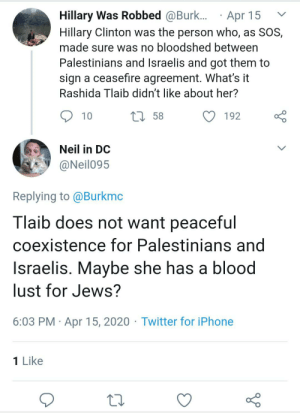 """""""Tlaib hates Hillary because she hates Jews and there's no other reason"""": """"Tlaib hates Hillary because she hates Jews and there's no other reason"""""""