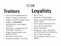 """In case you don't know much about the primarchs, here's a quick reference guide, munchin-bruvas.  P.S.: we had a primarch long time ago, but we were short on hot pockets one day, sooo you know...  -Chaplain Ramsay: TL'DR  Loyalists  Traitors  Russ- Furry  Horus bald headed bastard  Rowboat- Overly badass  Fulgrim- Emperor wannabe  Angron- read his fucking name  Vulkan- one of the few black  guys in space  Magnus  neeeeeeerd  Corax- Super Awesome Emo  Konrad Curze-worst legion  Lion- not at all secretive  primarch  Mortarian- smelled like shit  KHAN- KHAAAAN  since day 1""""-Emperor  Sanguinius- Jesus. And don't  you fucking dare say otherwise  Lorgar- Found Religion and  fucked it all up  Dorn- hates Perturabo  Perturabo- hates dorn  Ferrus Manus- literally 'Iron  Hands'  Alpharius Omegon- ho ho ho In case you don't know much about the primarchs, here's a quick reference guide, munchin-bruvas.  P.S.: we had a primarch long time ago, but we were short on hot pockets one day, sooo you know...  -Chaplain Ramsay"""