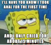 Wow, Anal, and Imgur: T'LL HRVE Y  OU KNOWOTOOK  ANAL FOR THE FIRST TIME  CRIED  ANDIONLY FOR  ABOUT15-MINUTES  made on imgur wow