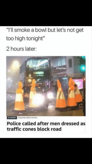 "meirl: ""T'll smoke a bowl but let's not get  too high tonight""  2 hours later:  TopTree  Police called after men dressed as  traffic cones block road meirl"