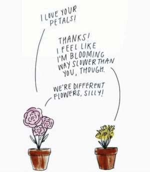 Everyone blooms differently via /r/wholesomememes https://ift.tt/32YxxAk: TLOVE YOUR  PETALS  THANKS!  IFEEL LIKE  I'M BLOOMING  WAY SLOWER THAN  YOU, THOUGH  WE'RE DIFFERENT  FLOWERS, SILLY! Everyone blooms differently via /r/wholesomememes https://ift.tt/32YxxAk