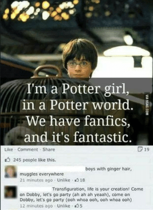 9gag, Life, and Party: T'm a Potter girl,  in a Potter world.  We have fanfics,  and it's fantastic.  F 19  Like Comment Share  245 people like this  boys with ginger hair,  muggles everywhere  21 minutes ago Unlike 18  Transfiguration, life is your creation! Come  on Dobby, let's go party (ah ah ah yeaah), come on  Dobby, let's go party (ooh whoa ooh, ooh whoa ooh)  12 minutes ago Unlike 5  VIA 9GAG.COM 2010s was a mistake