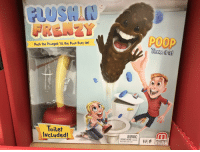 Children, Funny, and Poop: TM  FRENZY  POOP  Push the PLuNgeR 'til the Poop PoPs Up!  he  IS  Toilet  NcLuded!  WARNING:E  Not for children under 3 years  2-4 5+  GAMES