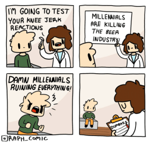 Beer, Millennials, and Test: TM GOING TO TEST  YOUR KNEE JERK  REACTIONS  MILLENNIALS  ARE KILLING  THE BEER  INDUSTAY  DAMN MILLENNIALS  RUINING EVERYTHIN G!  DUMBASS  ORAPH-Comic Reactions