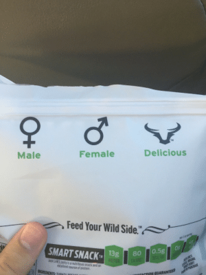 Protein, Tumblr, and Blog: TM  Male  Female  Delicious  Feed Your Wild Side.  1 0t  SMART SNACK 1  TMISg80 0.5g  Jack Link's Jerky is a nutritious snack and an  excellent source of protein  ut-10 | INGREDIENTS, TIIRKEV ppr  ACTION GUARANTEED j9:  surfmanstevens420:  j9:  I'm glad Jack Links recognizes non-binary genders  the signs arent even right  holy fuck