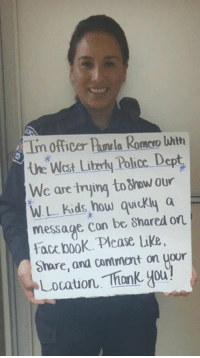 Memes, Wat, and Iowa: Tm officer a Romero with  wat uttr Police Dept  We are trying to8how our  WL kids how quickly a  message con be shared on  Facebook Please Like  share, and comment on your  Locauon Thank you West Liberty Iowa Police Department  We are going to be talking to kids at West Liberty schools about their use of social media. We want them to understand once they hit enter or send there is no way to get something back.   We need your help with this. Please like, comment with your location, and share this with friends. We would like to get responses from all over the world to show our kids how quickly something can spread.