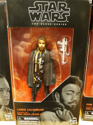 Children, Black, and Accidental Racism: TM  T HE B L A CK SERIE S  HAN  AGE.  LANDO CALRISSIAN  E1206/B3834 ASST.  CHOKING HA  Not for child  AGE EDAD DADE 4  A WARNING:  CHOKING HAZARD-Small parts.  Not for children under 3 years The Black edition