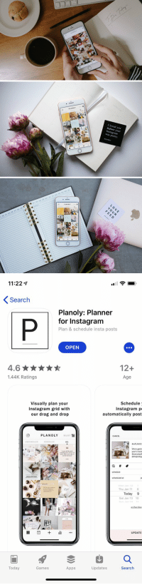 Instagram, Memes, and Apps: tn  commard  PLANOLY   PLANOLY  I loved you  before your  Instagram  was pretty.  PLANOLY   5-  AN FEB MAR APR MAY JUN JUL AUG SEP OCT NOV DEC  自  SUB JECT  JUL AUG:: SEP, OCT NOV DEc t  YJUN  PLANOLY  혤   11:221  Search  Planoly: Planner  for Instagram  Plan & schedule insta posts  OPEN  4.6  1.44K Ratings  12+  Age  Visually plan your  Instagram grid with  our drag and drop  Schedule  Instagram p  automatically post  PLANOLY SELECT  CANCEL  UNSCHEDULED  BrePLANOL  Whos gettir  year's reso  everydayl  schedule  scheduled at  Thu Jan 11  8  Today 9  Sat Jan 13 10  MBE  UPDATE  Today  Games  Apps  Updates  Search RT @blairej7: Schedule and plan your Instagram pictures. I'm absolutely obsessed 😍🙏🏻😭 https://t.co/JFgOXEJbx9