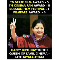 Birthday, Memes, and Queen: TN STATE FILM AWARD 5  TN CINEMA FAN AWARD 8  RUSSIAN FILM FESTIVAL 1  FILM FARE AWARD  6  VC J  www.RVCJ, COM  HAPPY BIRTHDAY TO THE  QUEEN OF TAMIL CINEMA  LATE  JAYALALITHAA Happy Birthday Jayalalithaa rvcjinsta